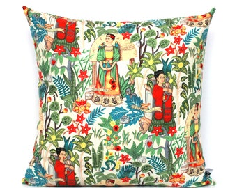 Frida Kahlo Pillow Vintage Garden Art Cushion Cover - Frieda Pillow, Beige Cushion Covers Decorative Scatter Throw Mexican 16x16 18x18 20x20