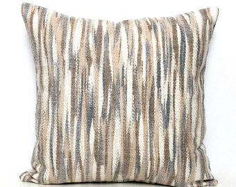 Grey Pillow Grey and Beige Pillows, Gray  Beige Ikat Pillow Striped Pillow Beige Pillow Grey and Cream Cushion Cover 17x17 18x18 12x20 20x20