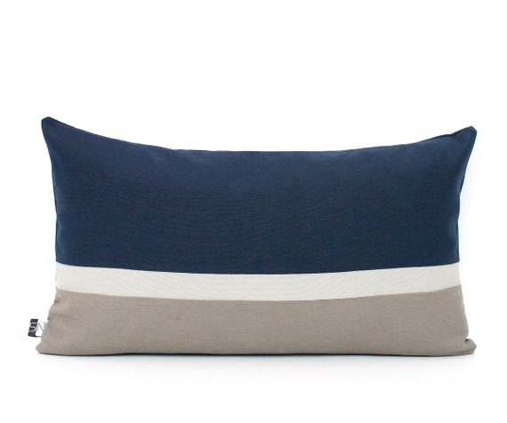 Grey Colorblock Lumbar Throw Pillows