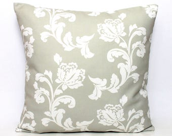 Light Olive Green and White Floral Flower Damask Cushion Cover, Overtly Olive Decorative Scatter Pillow Case  Throw Pillows 17 x 17 17x17
