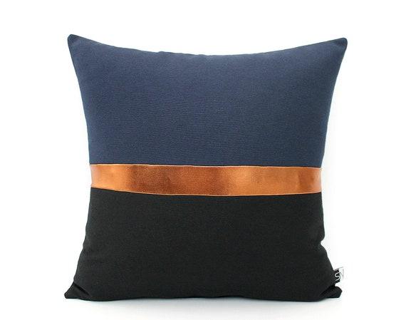 Navy orange pillow | Etsy