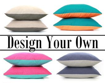 Two Tone Pillow Covers, Design your Own -  All Sizes Available, Home gifts for you