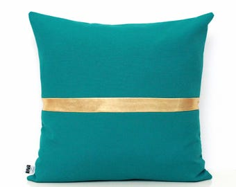Teal Pillow Covers Teal Home Decor Teal Cushions Teal Scatter Pillow Teal and Gold Teal Decor Teal Pillows Teal Cushion Cover 12 x 20 18x18
