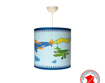 "Child lamp Applique boy ""Biplane in action II"""