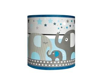 """Light blue Applique """"Parade of elephants"""" kid"""