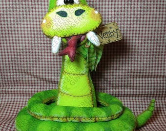 E-Pattern - Don't Throw a Hissy Pattern #343 - Primitive Doll E-Pattern - Snake - Rattle - Whimsical - Fiber Art - English Only