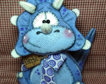 Fossil Frills Triceratops Pattern #342 - Primitive Doll Pattern - Dinosaur - Triceratops - Whimsical - English Only