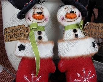 Warm Winter Mittens Pattern #164 - Primitive Doll Pattern - Christmas - Snowman - Mitten - Ornaments
