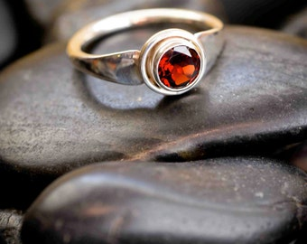 Sterling Silver and 6mm Gemstone Forged Flare Ring - in Garnet, Peridot, Smoky Quartz, Amethyst, Black Spinel or Citrine