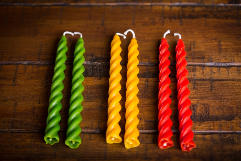 7 Beeswax Spiral Taper Candles