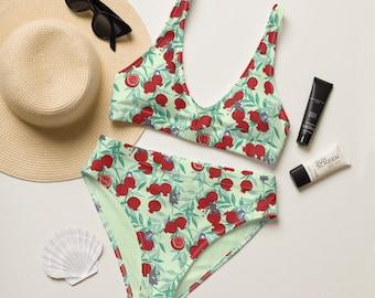 Pomegranate Aro & Tan Mint - Recycled high-waisted bikini
