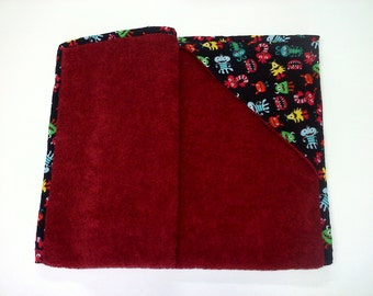 Baby Bath Towel | Monster Madness Hooded Baby Bath Towel | Hooded Bath Towel | Red Baby Bath Towel | Ready-To-Ship
