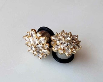 12 Wedding Plugs 916 000g 716 Gold Pearl Crystal Diamond Gauged Earrings 12mm 14mm 11mm Bridal Dangle Plugs And Tunnels