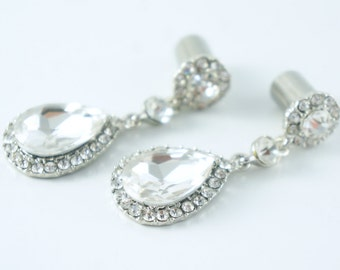 Dangle Plugs 8g 6g 4g 2g 0g 00g Diamond Wedding Ear Gauges 6mm 8mm 10mm