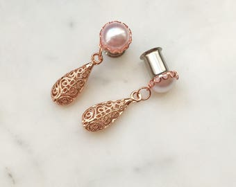 Pearl with rose gold setting and rose fold drop plug gauges 8g-00g