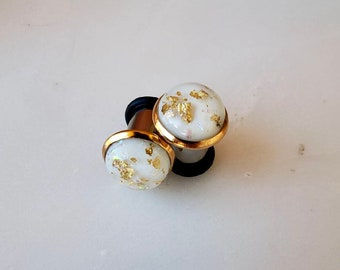 """White resin with gold and opalescent flakes in a gold bezeled setting plugs gauges 8g 6g 4g 2g 0g 00g 7/16"""" 1/2"""" 3mm-12mm"""