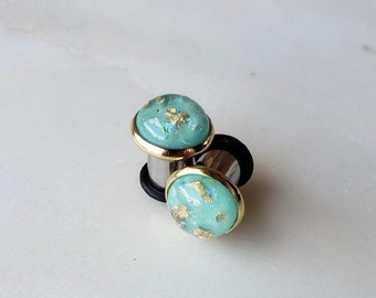 """Aquamarine resin with gold and opalescent flakes in a gold bezeled setting plugs gauges 8g 6g 4g 2g 0g 00g 7/16"""" 1/2"""" 3mm-12mm"""