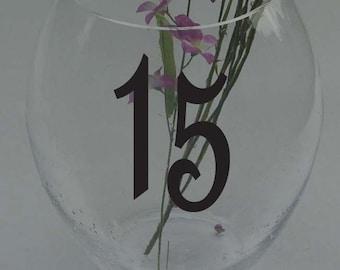 "Wedding Table Numbers 1-30 Custom Centerpiece Vinyl Sticker Decals 3"" h"