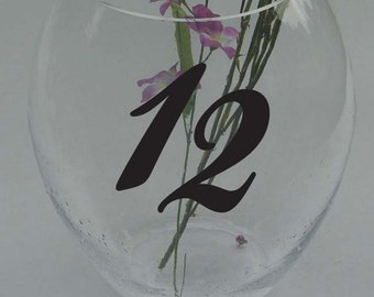 "Wedding Table Numbers 1-20 Custom Centerpiece Vinyl Sticker Decals 4"" h (b)"