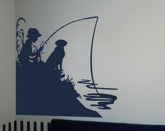 "Little Boy Fishing with His Dog Vinyl Wall Sticker Decal (b) 12""h x 12""w"