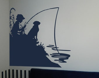 "Little Boy Fishing with His Dog Vinyl Wall Sticker Decal (b) 22""h x 22""w"