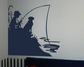 "Little Boy Fishing with His Dog Vinyl Wall Sticker Decal  34""h x 34""w (b)"