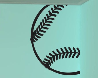 "Baseball Room Corner Vinyl Sticker Decal 23""h x 22""w"