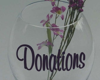 "Make your Own DONATIONS Jar Vinyl Sticker Decal 2.5""h x 5""w (2 Decals)"