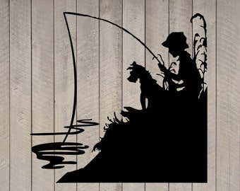 "Little Boy Fishing with His Dog Vinyl Wall Sticker Decal  12""h x 12""w"