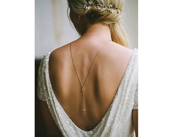 dia - Back Necklace, Back Chain, Silver Back Necklace, Bridal Back Drop Necklace, Rose Gold Necklace, Gold Lariat, Minimal