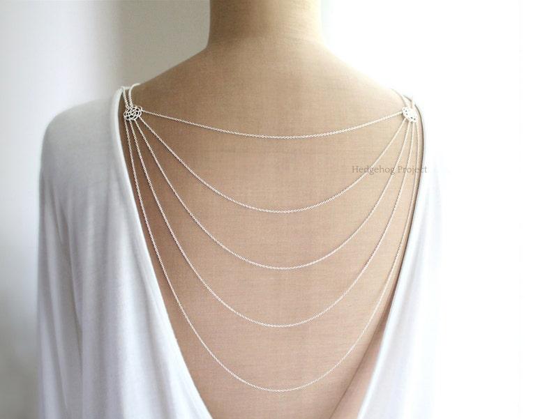 5db8e052181a6f Romance Art Deco Glam Multistrand Back Necklace Backdrop | Etsy