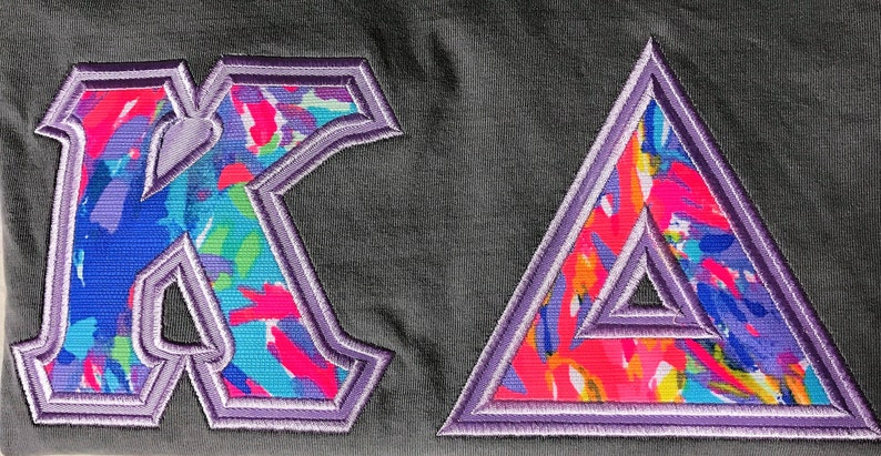 7a55224b5bc180 Sorority Letter Shirt Lilly Pulitzer Fabric Kappa Delta | Etsy