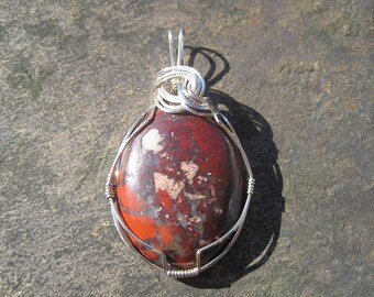 Brecciated Jasper Pendant, Wire-Wrapped in Argentium Silver