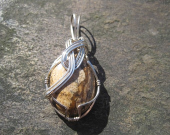 Picture Jasper Pendant, Wire-Wrapped in Argentium Silver