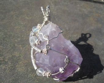Chunky Amethyst Crystal Statement Pendant Wrapped in Sterling Silver with Swarovski Crystal and Sterling Accents
