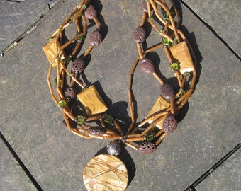 WHEN WE ALL Lived in The Forest - Picture Jasper, Pumice, Shell and Peridot Statement Necklace