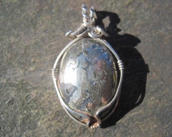 Silver Ore Cabochon Wire-Wrapped in Sterling Silver