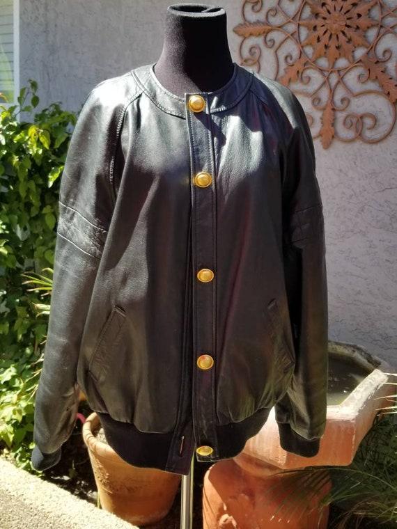 1980s Evan Davies Blk Leather Bomber Jacket