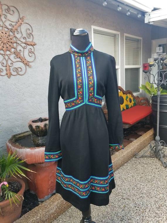 Vtg 1970s BoHo Dress