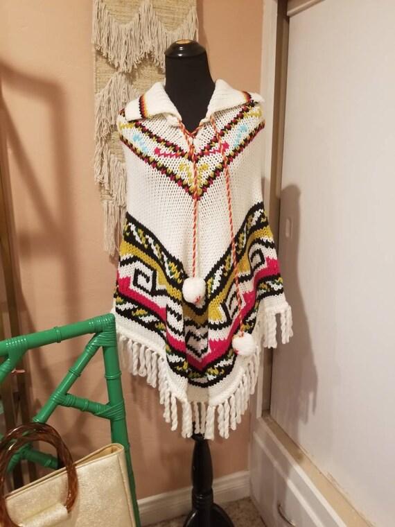 1970s Boho Knit Poncho- Cape