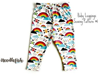 BABY LEGGINGS SEWING Pattern - No-Cuff Baby Leggings - Infant Leggings - No cuff Infant Leggings - Easy Sewing Pattern