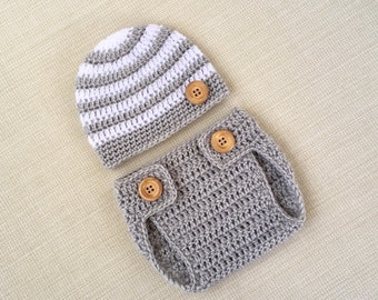 69ec8694744c59 Newborn Boy Photo Outfit. Crochet Baby Hat and Diaper Cover Set for  Pictures. 0 to 6 months old photography clothes. Babies Shower Gift Idea