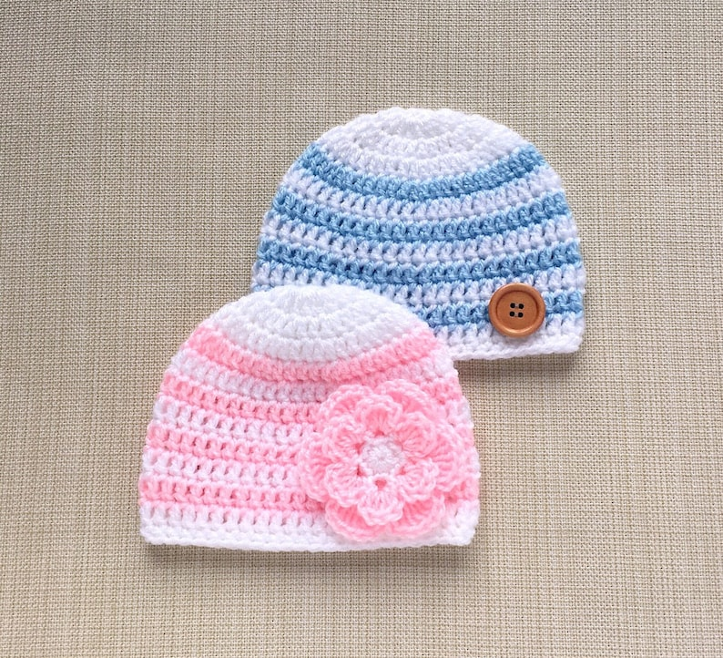unique new born gift idea pink and white striped newborn photo prop cap Light blue Twin baby hats 0-3 month boy and girl crochet beanies