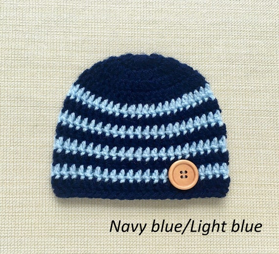 3a436b8b7bb Crochet baby hats for boys 0 3 month size. Navy and white