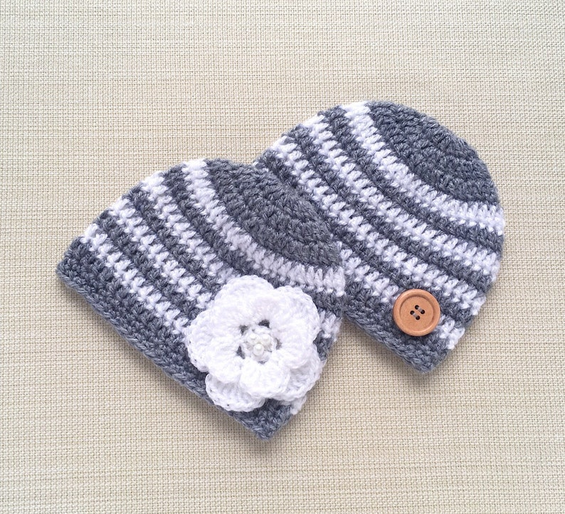 edfcac47a Crochet Hat. Gray, White Striped. Newborn Twin Babies beanie boy, girl,  gender neutral. Unique gift idea for Baby Shower New Born photo prop