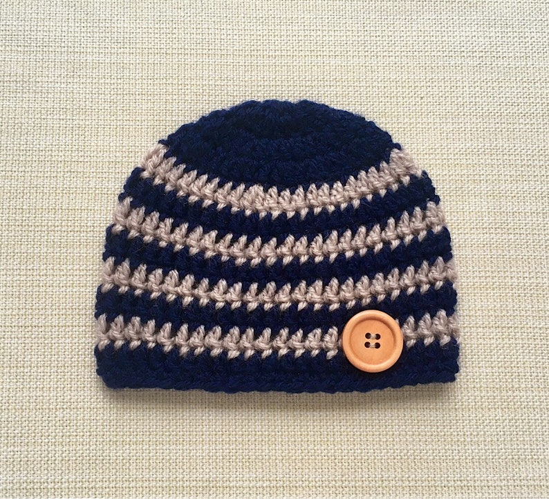 b1a91b4ed Baby Boy Hat. Navy Blue and Beige Striped Newborn Beanie 0 to 12 months  old. Crochet Coming Home Cap or Photo Shoot Props, New born gifts