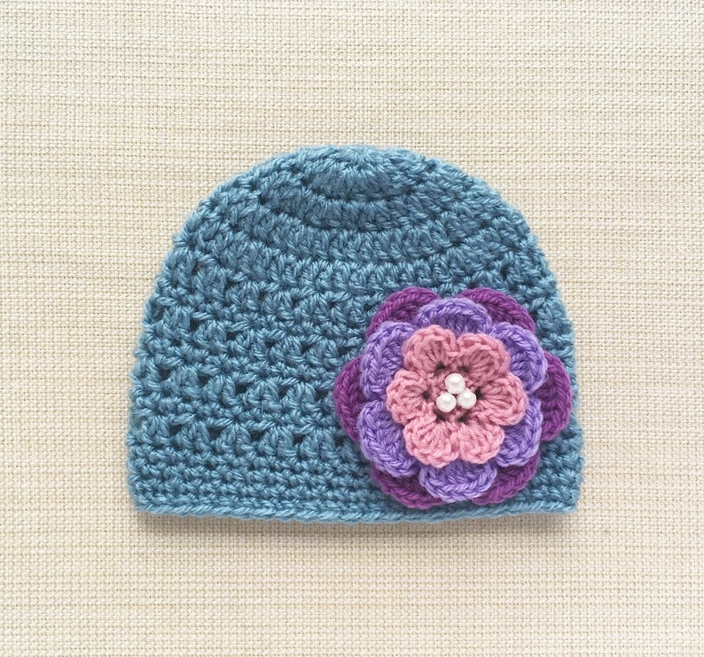 0 3 Month Girl Hat Crochet Newborn Beanie With Flower Warm Etsy