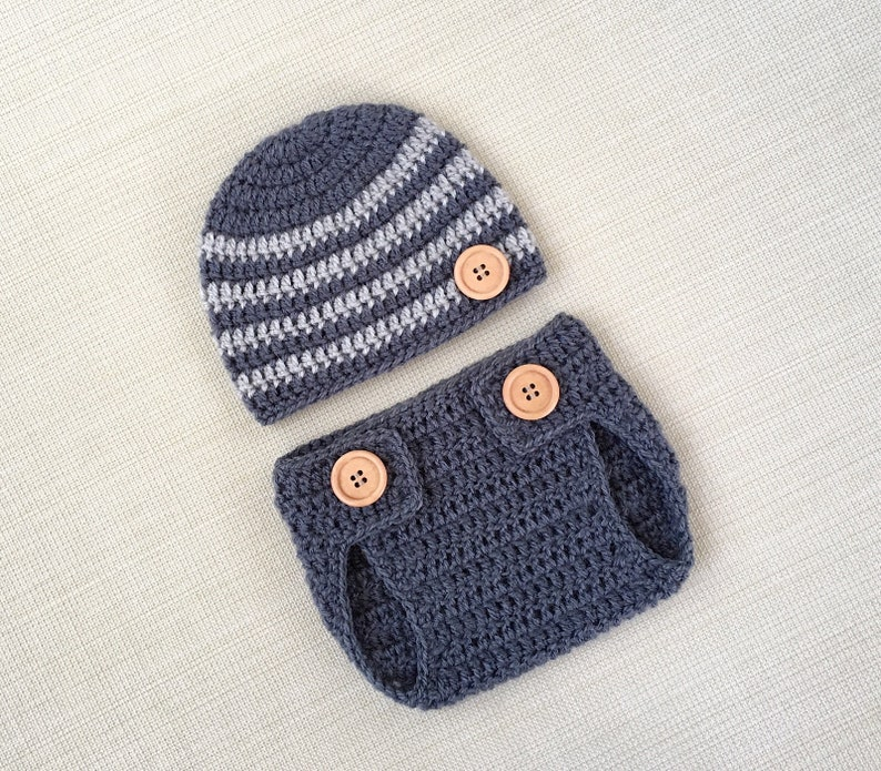 4d42e1459 Crochet newborn outfit baby boy photography prop hat and | Etsy
