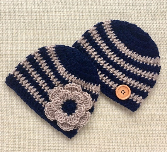 489379ae6 Matching Hats for Twin Boy and Girl. 0-12 Month Crochet Baby Beanies Set  for Newborn photo shoot, Coming Home Outfit. Twins Baby Gift Ideas