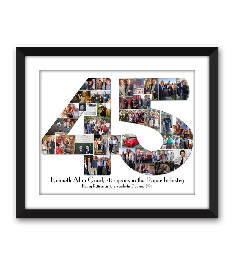 Forty-five 45 forty-fifth 45th Big 4-0 Thirty 30 twenty-One 21 Birthday  Digital Printable Custom Any 1 or 2 digit Number Photo Collage